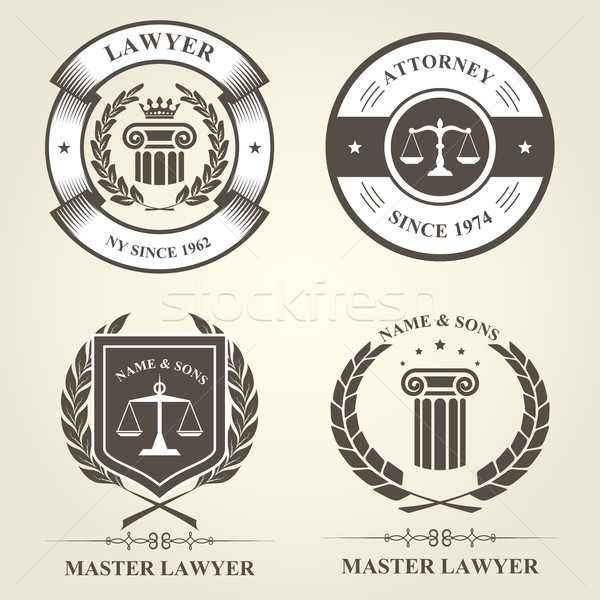 Avoué avocat badges droit couronne Photo stock © gomixer