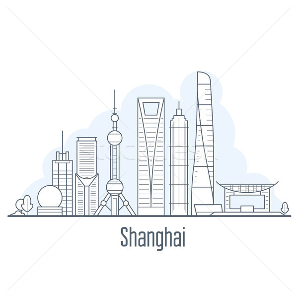 Stock photo: Shanghai city skyline - cityscape with landmarks in liner style