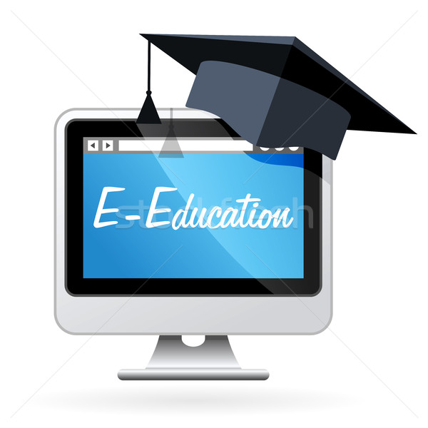Distance learning - computer and mortarboard, e-education concep Stock photo © gomixer