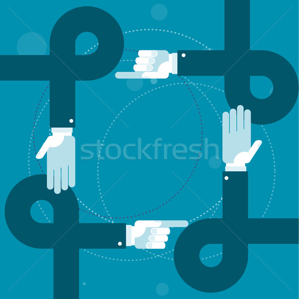 Hands loops and pointing fingers - solidarity or bureaucracy con Stock photo © gomixer