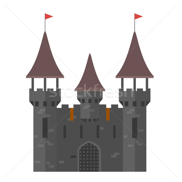 Stock photo: Medieval castle with towers - walled town