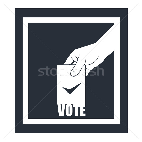 Election box and hand with voting bulletin Stock photo © gomixer