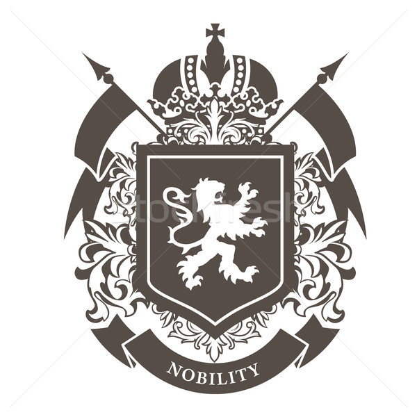Royal blazon - luxurious coat of arms with lion on shield and cr Stock photo © gomixer
