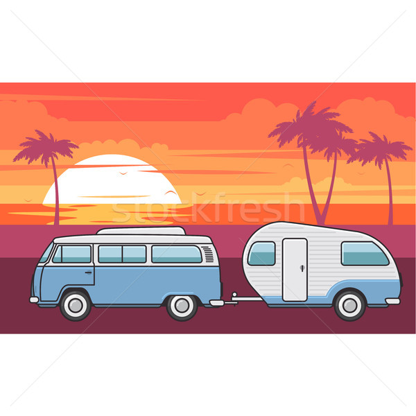 Retro van with camper trailer and evening sea beach Stock photo © gomixer