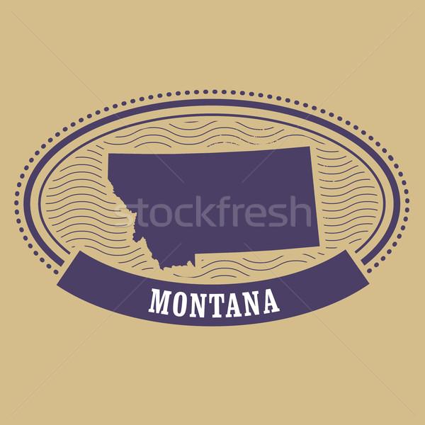 Montana harita siluet oval damga seyahat Stok fotoğraf © gomixer