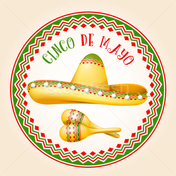 Cinco de Mayo emblem - mexican sombrero and maracas Stock photo © gomixer
