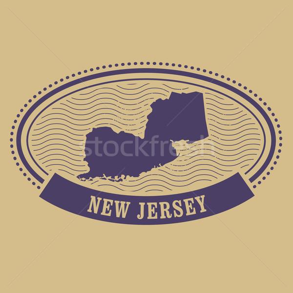 New Jersey harita siluet oval damga seyahat Stok fotoğraf © gomixer