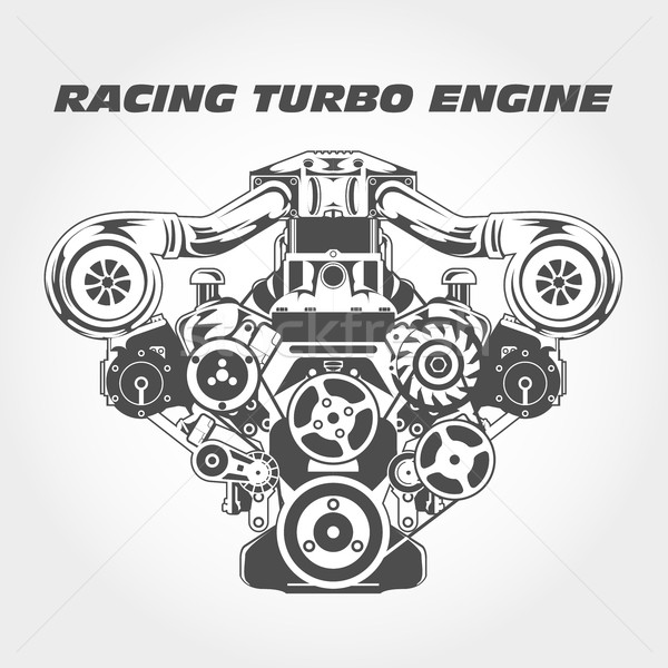 Racing engine with supercharger power - turbo motor Stock photo © gomixer