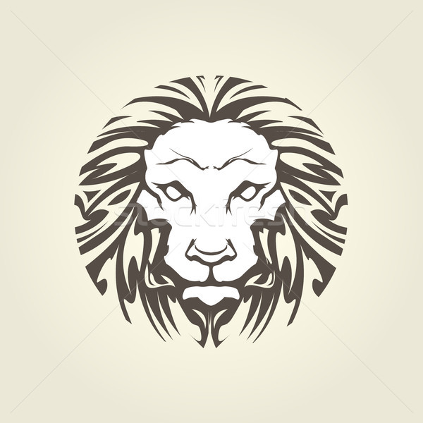 Lion's head in tattoo style - muzzle front view Stock photo © gomixer
