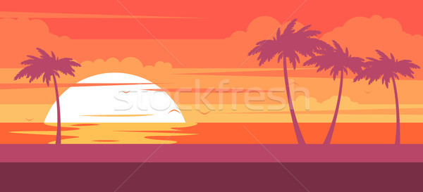 Stock photo: Tropical beach with palm trees and sea - summer resort at sunset
