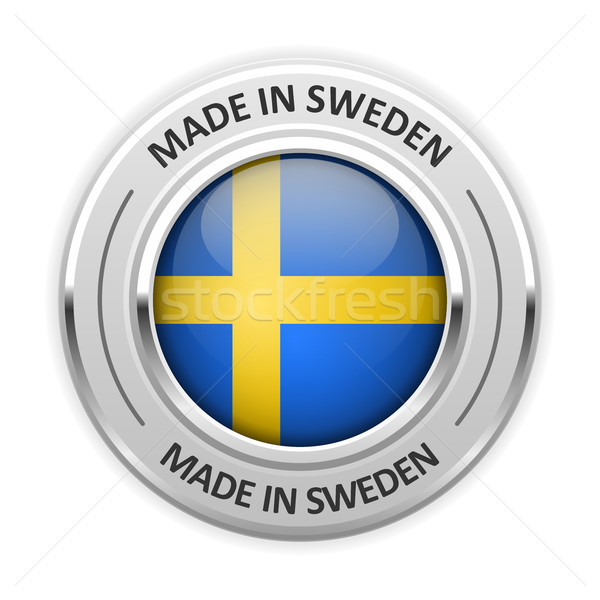 Silver medal Made in Sweden with flag Stock photo © gomixer