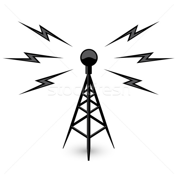 Antenna - broadcast tower icon with lightning Stock photo © gomixer