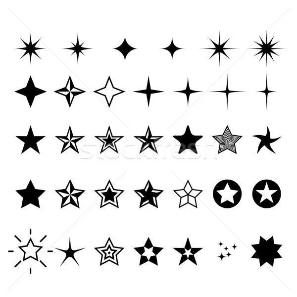 Star icons - rating, rank and decor star symbols Stock photo © gomixer