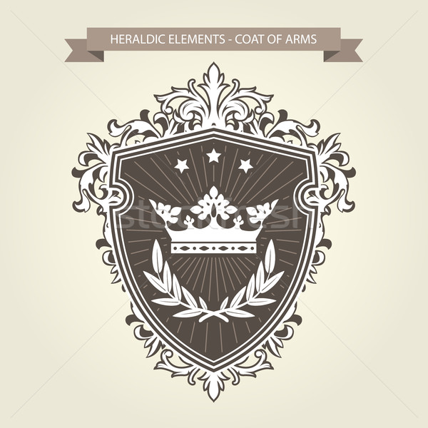 Stock photo: Coat of arms - medieval heraldry, shield  and crown