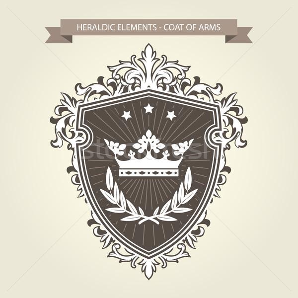 пальто оружия средневековых геральдика щит корона Сток-фото © gomixer