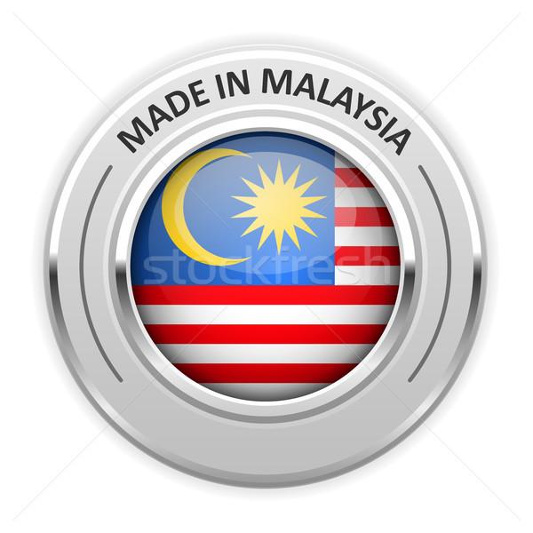 Gümüş madalya Malezya bayrak pin etiket Stok fotoğraf © gomixer