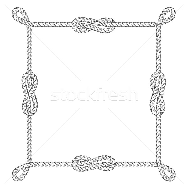 Square rope frame with knots and loops Stock photo © gomixer