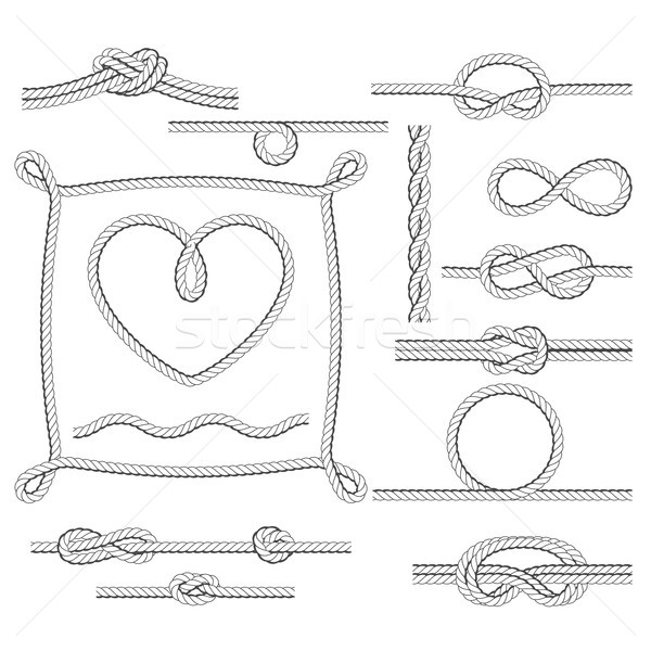 Rope frames and knots - borders and corners Stock photo © gomixer