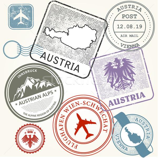 Viaje sellos establecer Austria Viena alpes Foto stock © gomixer