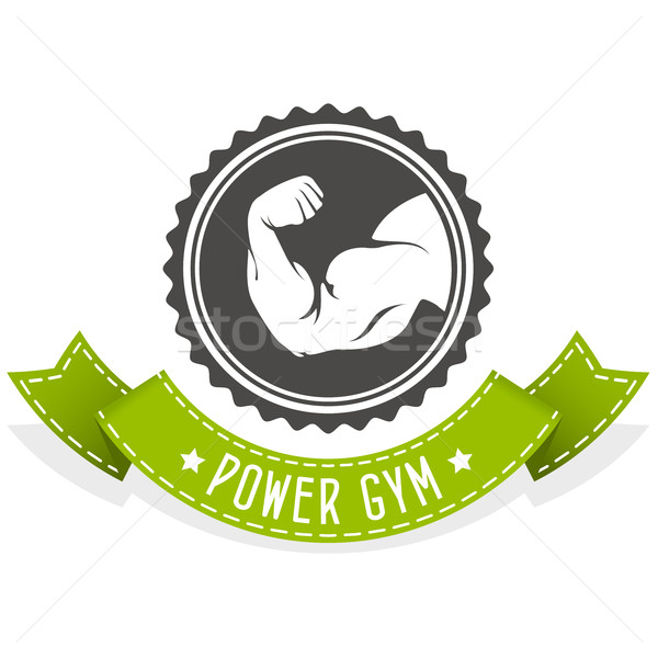 Fitness and bodybuilding emblem with muscleman hand Stock photo © gomixer