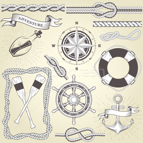 Vintage seafaring elements - steering wheel, oars, rope frame an Stock photo © gomixer