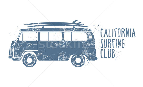 Retro van with surfboards on roof - vintage minibus, summer vaca Stock photo © gomixer