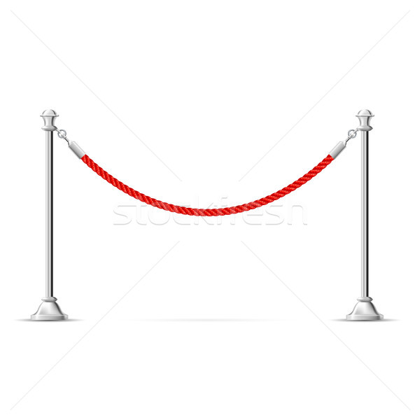 Silver barricade with red rope - barrier rope, vip zone border Stock photo © gomixer