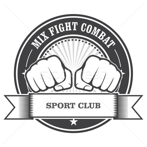 Mix fight combat emblem - clenched fists Stock photo © gomixer