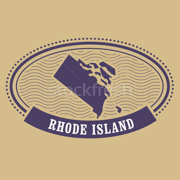 Rhode Island map silhouette - oval stamp of state Stock photo © gomixer