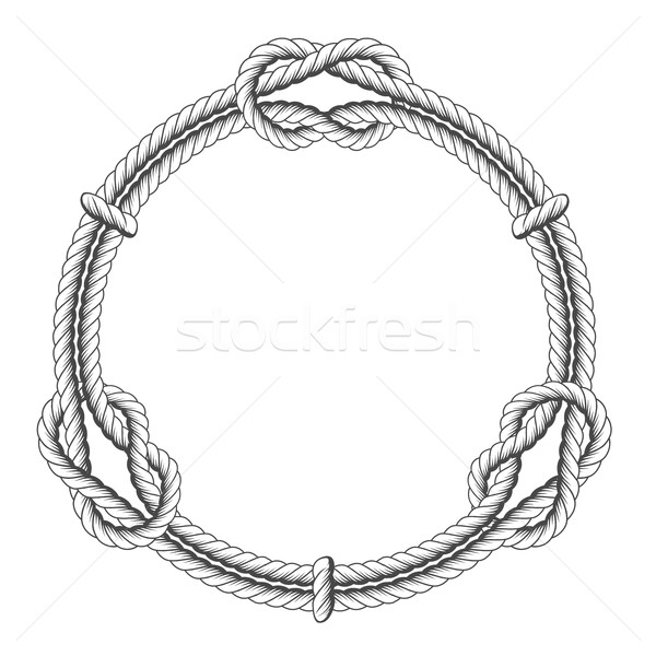 Twisted rope circle - round frame with knots  Stock photo © gomixer