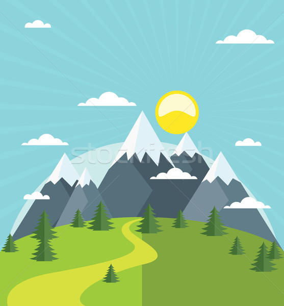Summer mountain with snow-covered peaks Stock photo © gomixer