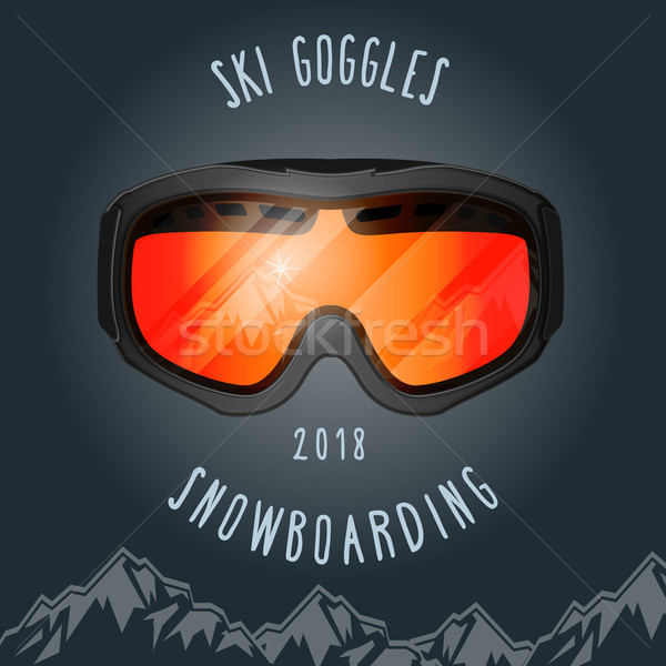 Ski goggles and mountains - snowboarding season poster Stock photo © gomixer
