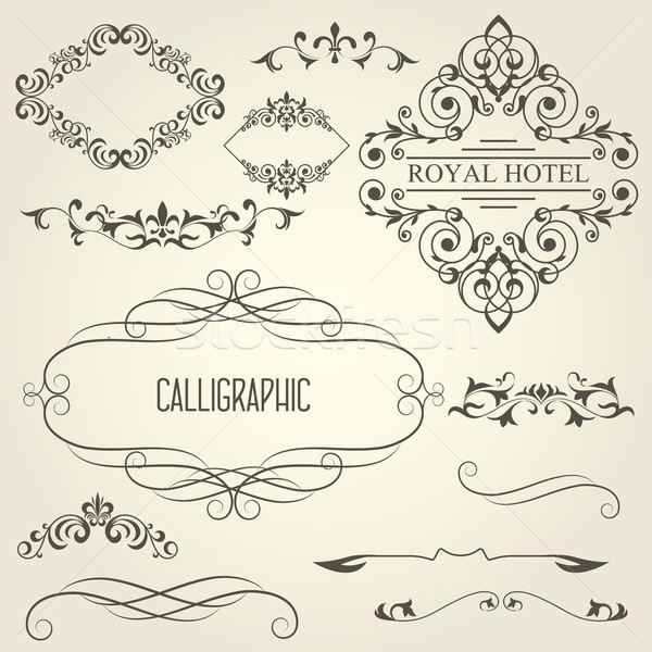Vintage calligraphic frames with vignettes and ornamental divide Stock photo © gomixer
