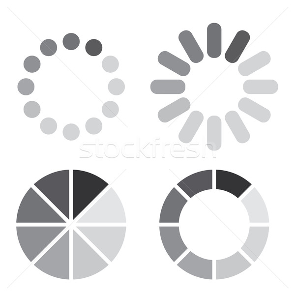 Collection of simple web preloaders in grayscale Stock photo © gomixer