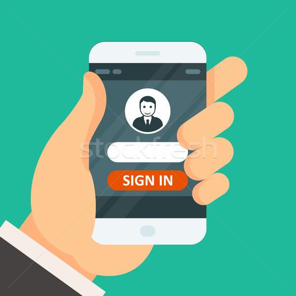 Podpisania smartphone użytkownik ikona hasło strony Zdjęcia stock © gomixer