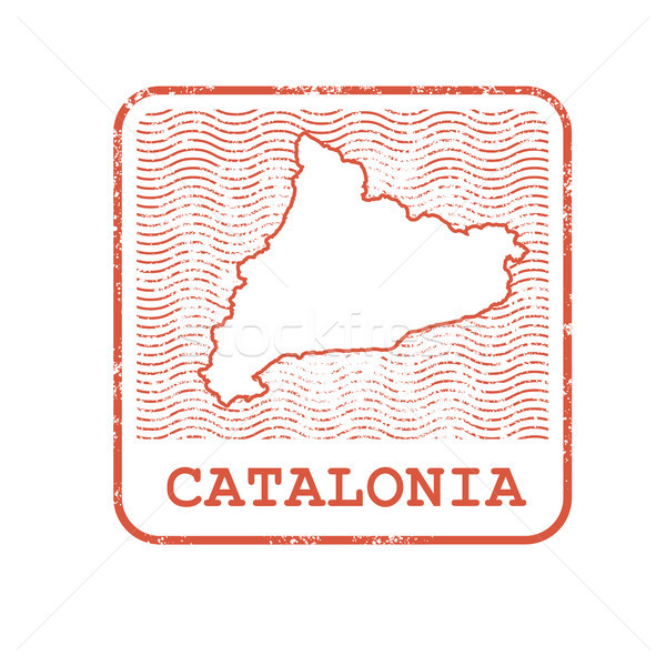 Stamp with contour of map of Catalonia - contour of Catalonia Stock photo © gomixer