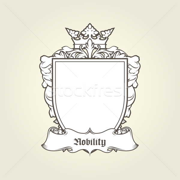 Blank template of coat of arms - shield with crown and banner, h Stock photo © gomixer