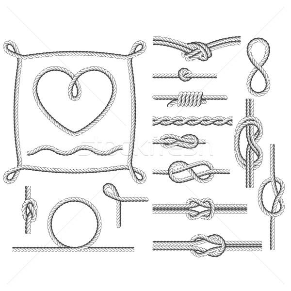 Kötél keret keretek nyakkendő vonal kör Stock fotó © gomixer