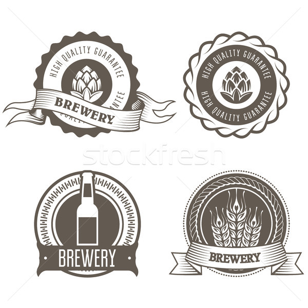 Beer and brewery emblems with hop buds  Stock photo © gomixer
