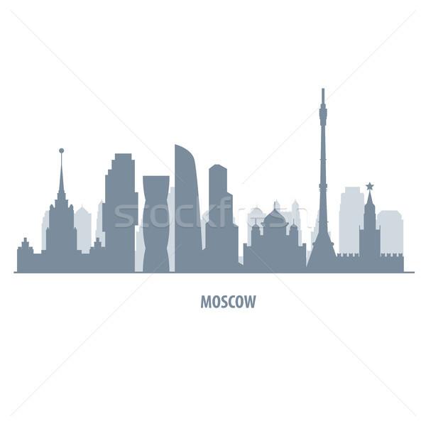Moscú horizonte silueta paisaje urbano estilo ciudad Foto stock © gomixer