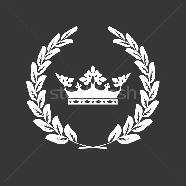 Stock photo: Crown and laurel wreath - family blazon or coat of arms