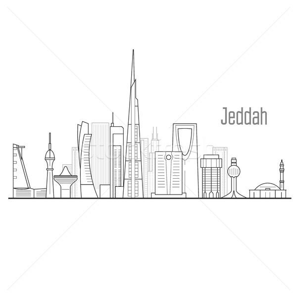 Városkép tornyok városkép épület háttér sziluett Stock fotó © gomixer
