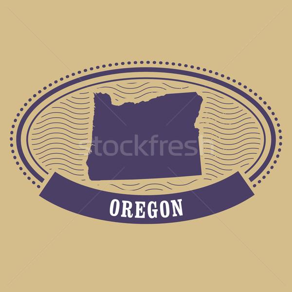 Oregon térkép sziluett ovális bélyeg utazás Stock fotó © gomixer