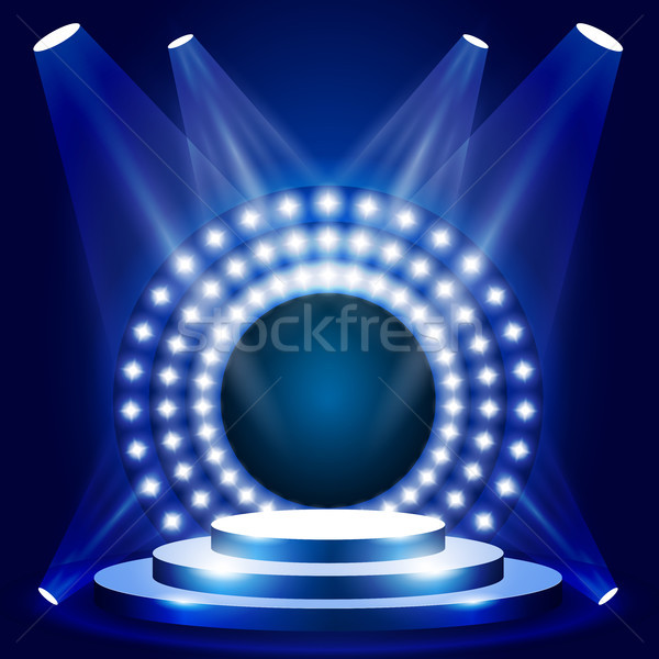 TV show scene with circle of lights - stage or podium for award  Stock photo © gomixer