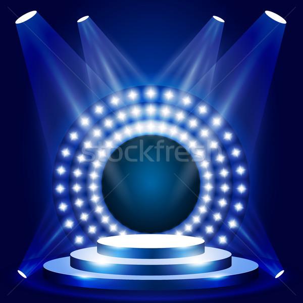 Tv mostrar escena círculo luces etapa Foto stock © gomixer