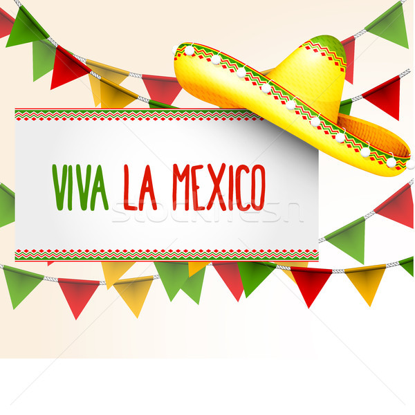 Banner viva la Mexico - sombrero and party triangle bunting flag Stock photo © gomixer