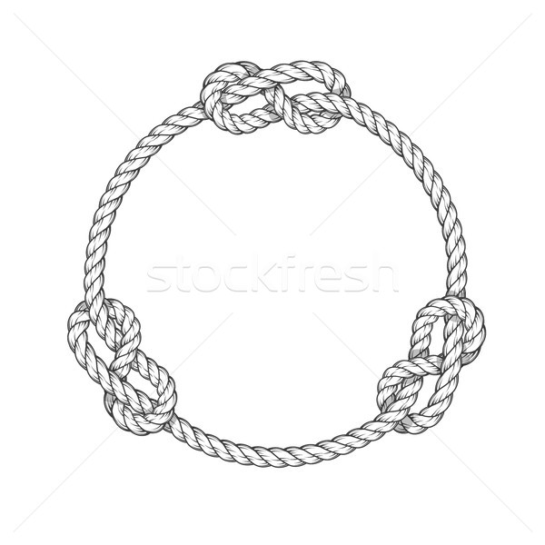 Rope circle - round rope frame with knots, vintage style Stock photo © gomixer