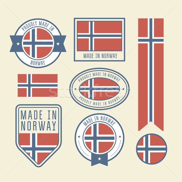 Stickers, tags and labels with Norway flag - badges Stock photo © gomixer