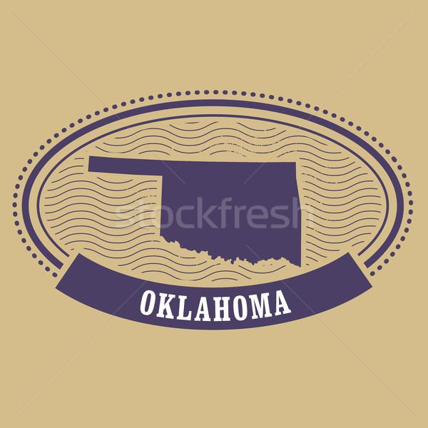 Oklahoma kaart silhouet ovaal stempel reizen Stockfoto © gomixer