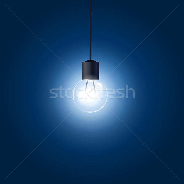 Light bulb hanging on cord on blue background Stock photo © gomixer